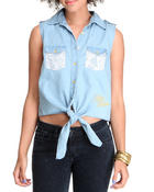 Polos & Button-Downs - Sleeveless Lace Trim Denim Woven Top