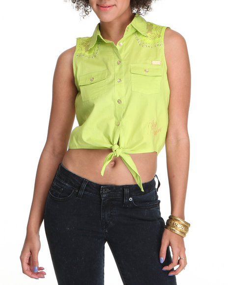 Apple Bottoms Women Lime Green Lace Inset Tie Front Woven Top