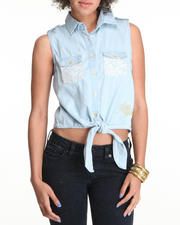Tops - Sleeveless Lace Trim Denim Woven Top