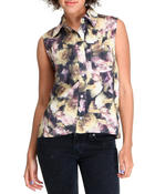 Polos & Button-Downs - Crooks Floral Sleeveless hi-lo top