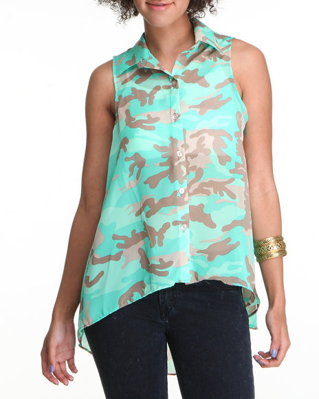 Fashion Lab Women Green General High-Low Button Down