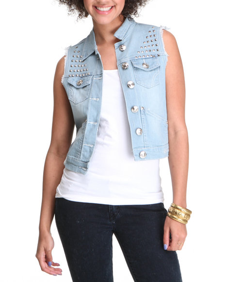 Apple Bottoms Women Light Wash Studded Denim Fashion Vest
