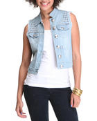 Outerwear - Studded Denim Fashion Vest