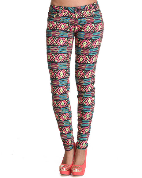 Celebrity Pink Women Black,Multi Spring Festival Skinny Jean Pants