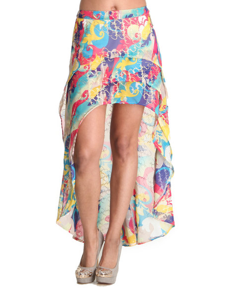 Apple Bottoms Women Multi Hi Low Hem Printed Chiffon Skirt