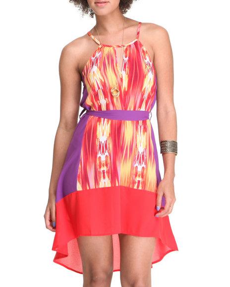 Apple Bottoms Women Purple,Red Printed Colorblock Hi-Low Hem Dress