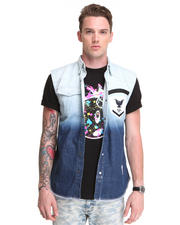Vests - Ombre Sleeveless Button Down w/ Punk Accents