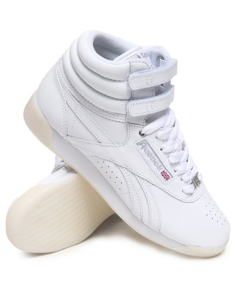 Reebok Women White Freestyle Hi Ice Bottom Sneakers