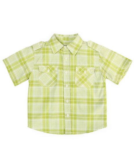 Akademiks - Boys Lime Green Basic Plaid Woven Shirt (4-7)