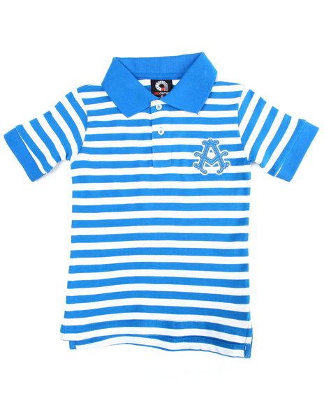 Akademiks - Boys Blue Striped Polo (4-7)