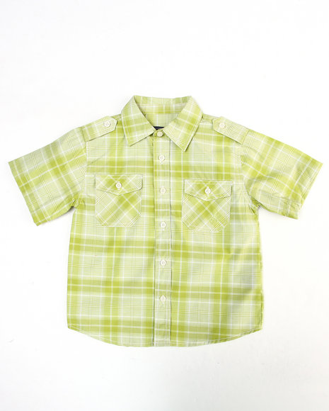 Akademiks Boys Lime Green Basic Plaid Woven Shirt (8-20)