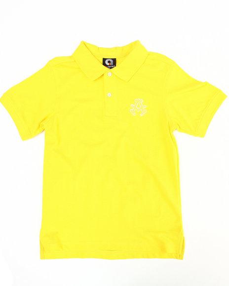 Akademiks Boys Yellow Solid Polo (8-20)