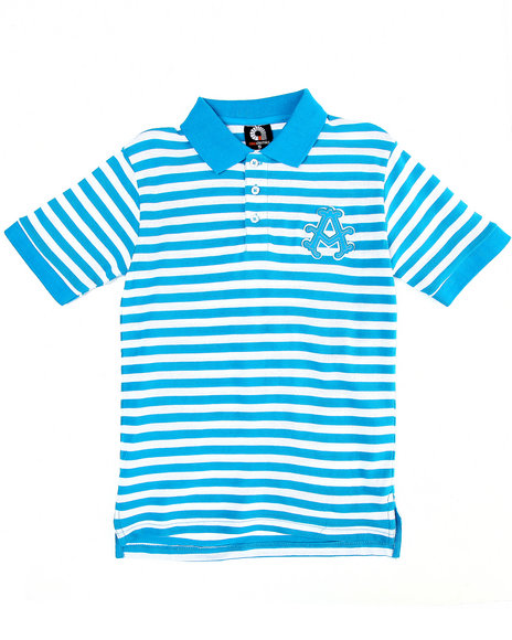 Akademiks Boys Teal Striped Polo (8-20)