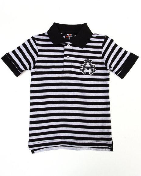Akademiks Boys Black Striped Polo (4-7)