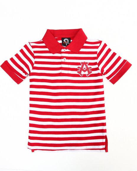 Akademiks Boys Red Striped Polo (4-7)