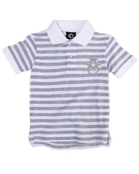 Akademiks Boys White Striped Polo (4-7)