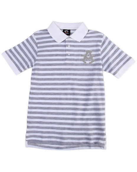 Akademiks - Boys White Striped Polo (8-20)