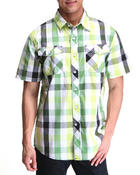 Southpole - Plaid Woven Short Sleeve Button-Down Shirt