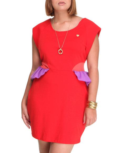 Apple Bottoms - Women Red Cap Sleeve Peplum Dress (Plus)