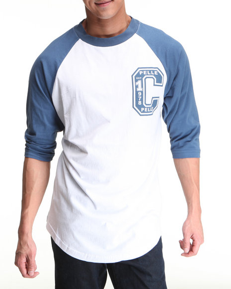 Pelle Pelle Men Blue,White 3/4 Sleeve Raglan Club Tee