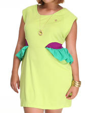Plus Size - Cap Sleeve Peplum Dress (Plus)