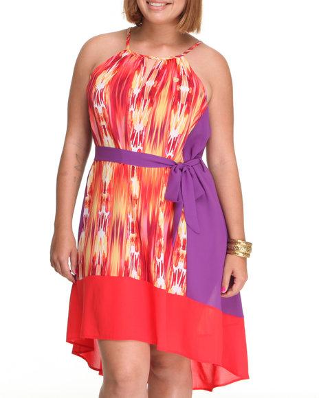 Apple Bottoms - Women Purple Printed Colorblock Hi-Low Hem Dress (Plus)