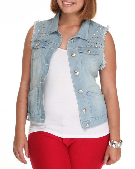 Apple Bottoms Women Light Wash Studded Denim Fashion Vest (Plus Size)