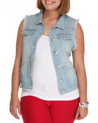 Outerwear - Studded Denim Fashion Vest (Plus)