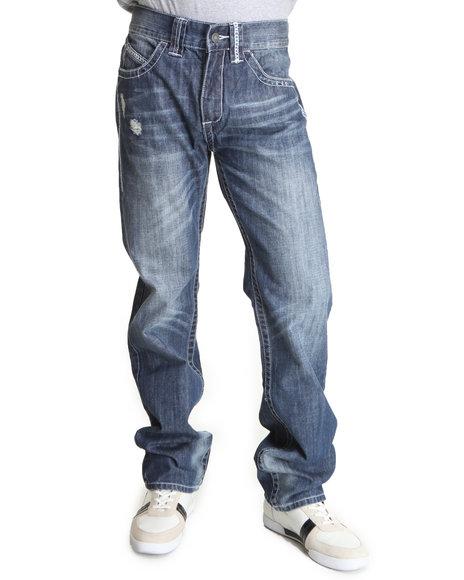 Pelle Pelle Men Medium Wash Indigo Wash Boot Stitch Denim Jeans