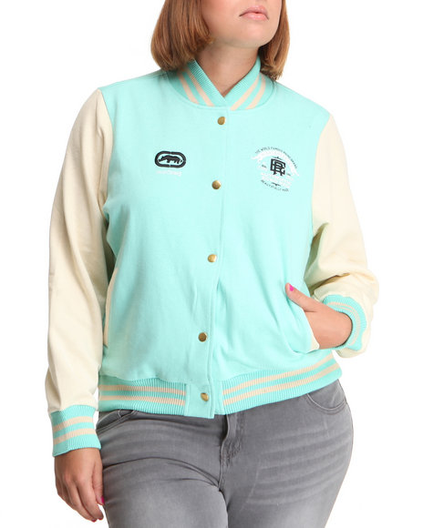 Ecko Red - Women Green Long Sleeve Varsity Jacket (Plus)