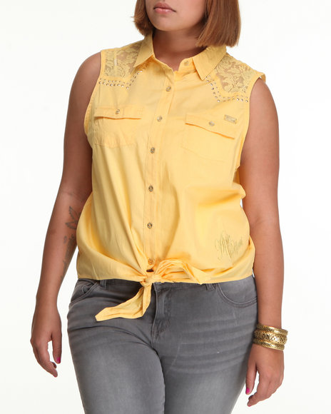 Apple Bottoms Women Yellow Lace Inset Tie Front Woven Top (Plus Size)