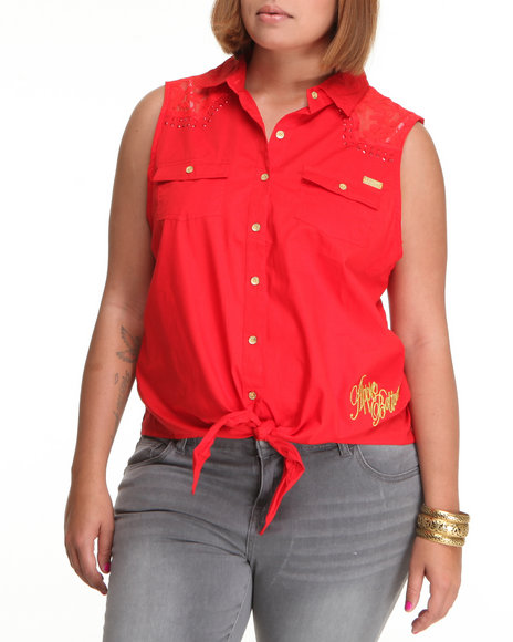 Apple Bottoms Women Red Lace Inset Tie Front Woven Top (Plus Size)