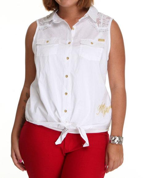 Apple Bottoms Women White Lace Inset Tie Front Woven Top (Plus Size)