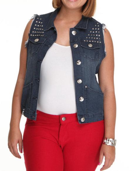 Apple Bottoms Women Dark Wash Studded Denim Fashion Vest (Plus)