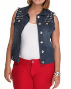 Vests - Studded Denim Fashion Vest (Plus)