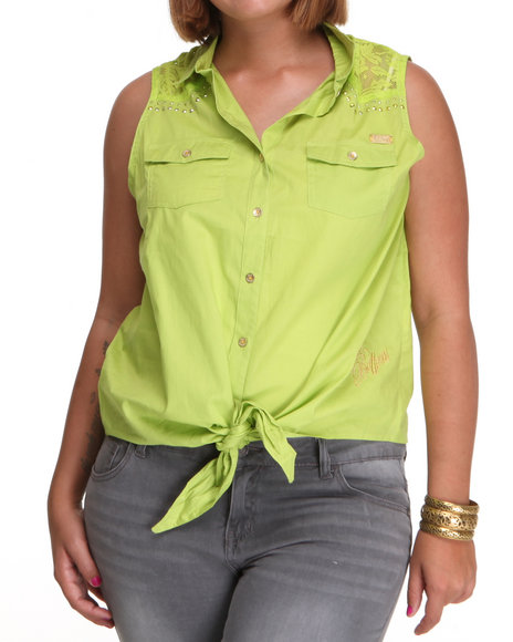 Apple Bottoms Women Lime Green Lace Inset Tie Front Woven Top (Plus Size)