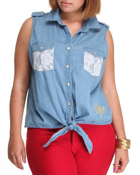 Apple Bottoms Women Medium Wash Sleeveless Lace Trim Denim Woven Top (Plus Size)
