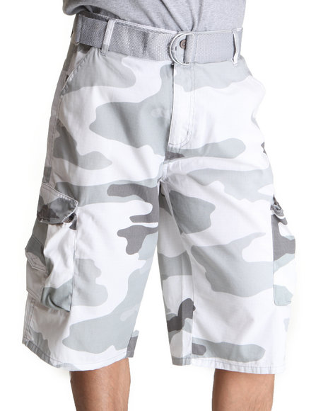 Basic Essentials Men Camo Camo Cargo Belted Shorts