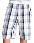 Shorts - Plaid Cotton Shorts w/ Belt