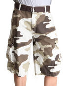 Basic Essentials - Camo Cargo Belted Shorts