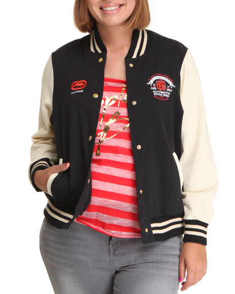 Ecko Red Women Black Long Sleeve Varsity Jacket (Plus Size)
