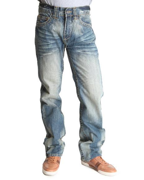 Pelle Pelle Men Vintage Wash Indigo Sand Wash Neoprene Inset Denim Jeans