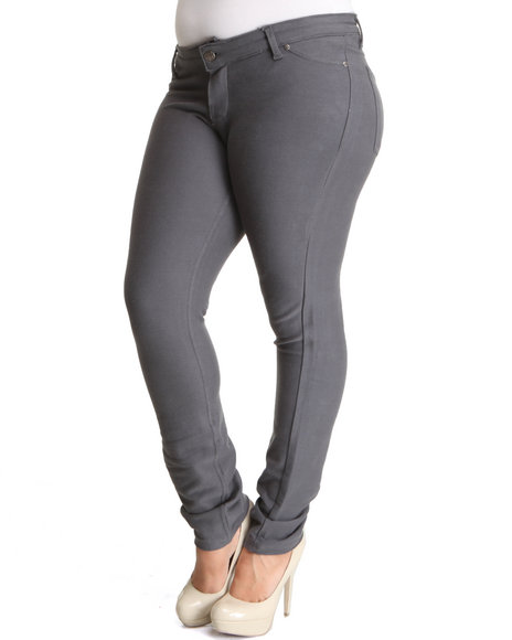 Basic Essentials Women Grey Knit Denim (Plus)