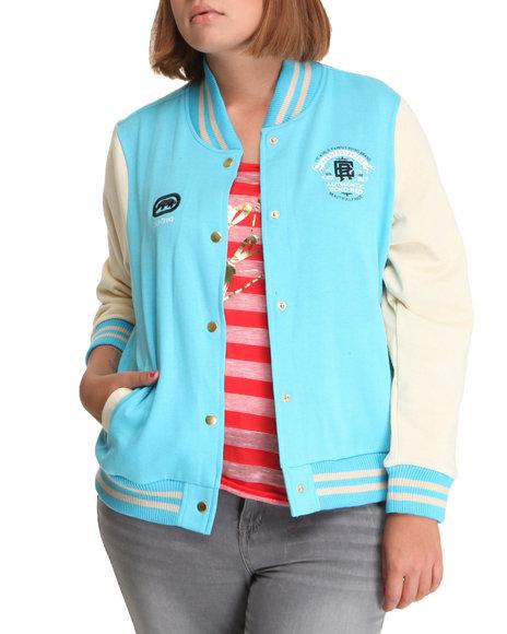Ecko Red Women Blue Long Sleeve Varsity Jacket (Plus Size)