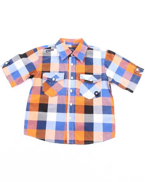 Akademiks Boys Orange Oversized Plaid Woven Shirt (4-7)