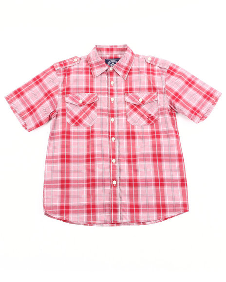 Akademiks Boys Red Basic Plaid Woven Shirt (8-20)