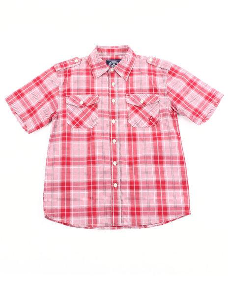 Akademiks Boys Red Basic Plaid Woven Shirt (8-20)