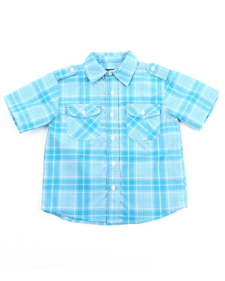Akademiks Boys Teal Basic Plaid Woven Shirt (4-7)