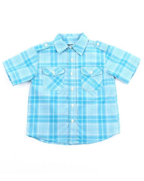 Akademiks - Boys Teal Basic Plaid Woven Shirt (4-7)