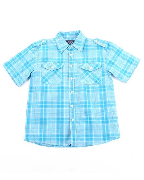 Akademiks - Boys Teal Basic Plaid Woven Shirt (8-20)